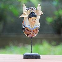 Wood sculpture, 'Flying Lady in Peach' - Hand Carved Wood Sculpture Flying Woman Beige Indonesia