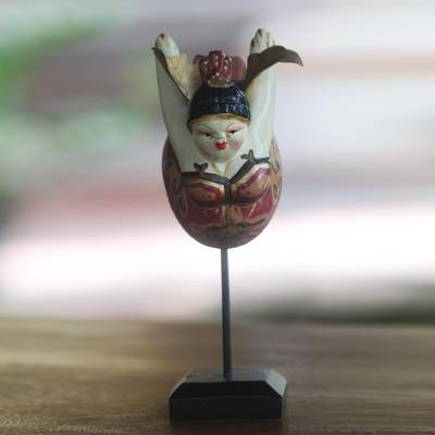 Wood sculpture, 'Flying Lady in Maroon' - Wood Sculpture Flying Woman Ivory and Red from Indonesia