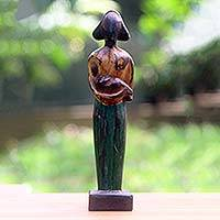 Wood sculpture, 'Lovely Mother' (12.5 inch) - Lovely Mother and Child Sculpture in Hand Carved Wood