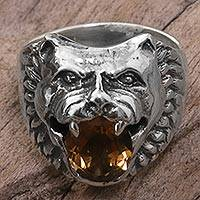 Citrine cocktail ring, 'Fierce Wolf' - Sterling Silver Citrine Cocktail Ring Wolf Face Indonesia