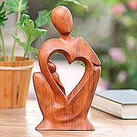 Wood statuette, 'Mother's Tenderness' - Mother and Child Natural Suar Wood Statuette