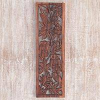 Wood wall relief panel, 'Owl Sanctuary' - Hand Made Wood Wall Relief Owls from Indonesia