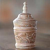Wood decorative box, 'Bali Spire' - Hand Carved Decorative Wood Box from Indonesia