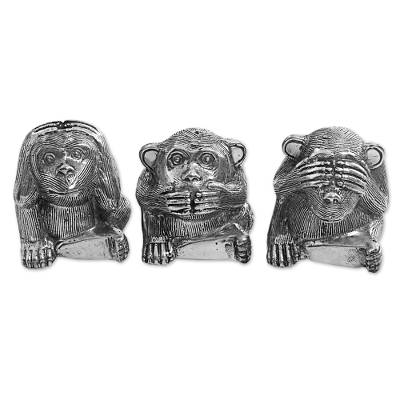 Silver Colored Bronze Monkey Figurines (Set of 3) Indonesia