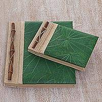 Natural fiber notebooks, 'Autumn Spirit in Green' (pair)