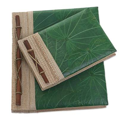 Natural fiber notebooks, 'Autumn Spirit in Green' (pair) - Handcrafted Pair of Rice Paper Notebooks from Indonesia