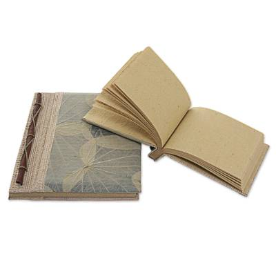Natural fiber notebooks, 'Autumn Spirit in Grey' (pair) - Handcrafted Pair of Rice Paper Notebooks from Indonesia