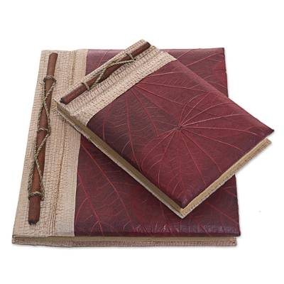 Natural fiber notebooks, 'Autumn Spirit in Red' (pair) - Handcrafted Pair of Rice Paper Notebooks from Indonesia