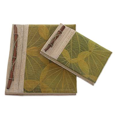 Natural fiber notebooks, 'Autumn Spirit in Olive' (pair) - Handcrafted Pair of Rice Paper Notebooks from Indonesia