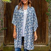 Rayon robe, 'Windy Beach in Cadet Blue' - 100% Rayon Ivory and Cadet Blue Robe from Bali