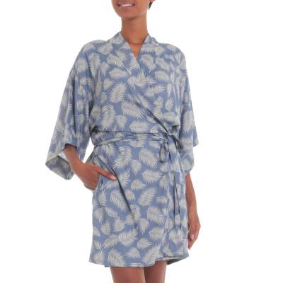 100% Rayon Ivory and Cadet Blue Robe from Bali