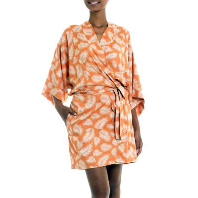 Balinese Rayon Print Robe in Ivory and Orange