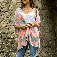 Silk shawl, 'Pale Pink Segara' - Silk Tie Dye Shawl Pale Pink Caribbean Blue from Indonesia