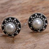 Cultured pearl stud earrings, 'Glowing White Happiness' - Hand Made Cultured Pearl Stud Earrings from Indonesia