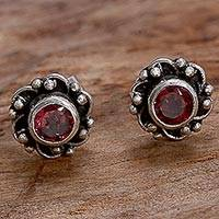 Garnet stud earrings, 'Little Happiness in Red' - Hand Made Garnet and Sterling Silver Flower Stud Earrings