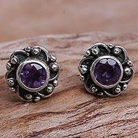 Amethyst stud earrings, 'Little Happiness in Purple'