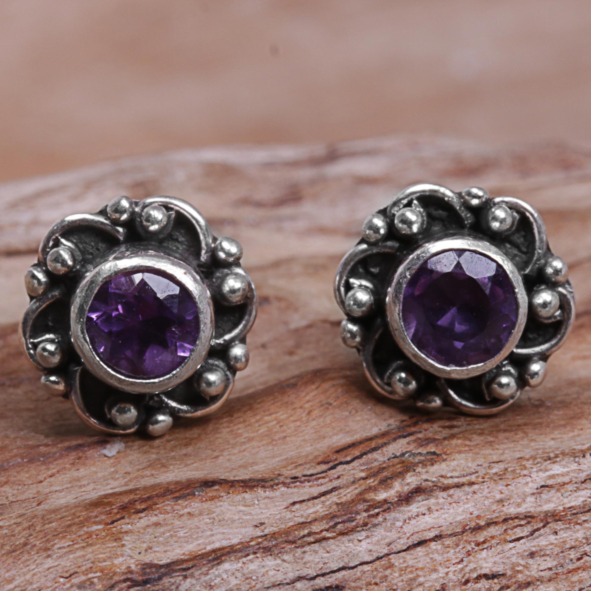 559074884 Hand Made Amethyst Sterling Silver Stud Earrings Indonesia,