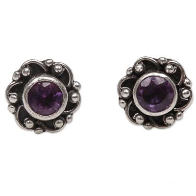 Amethyst stud earrings, 'Little Happiness in Purple' - Hand Made Amethyst Sterling Silver Stud Earrings Indonesia