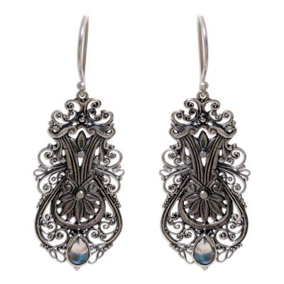 Sterling Silver Rainbow Moonstone Dangle Earrings Indonesia
