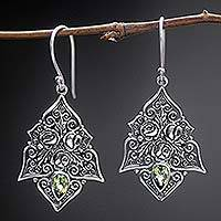 Peridot dangle earrings, 'Green Roses' - Sterling Silver and Peridot Dangle Earrings from Indonesia