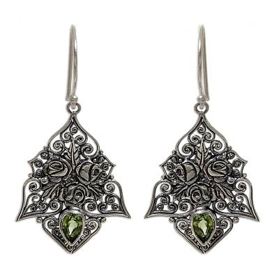 Sterling Silver and Peridot Dangle Earrings from Indonesia
