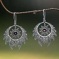 Garnet dangle earrings, 'Shiva's Fire' - Sterling Silver Garnet Dangle Earrings Sun Motif Indonesia