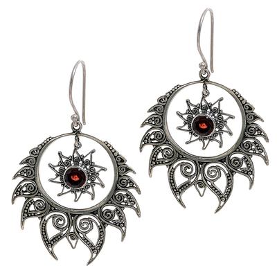 Sterling Silver Garnet Dangle Earrings Sun Motif Indonesia