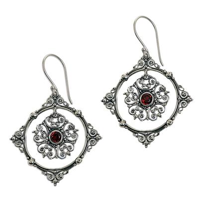 Hand Made Sterling Silver Garnet Dangle Earrings Indonesia