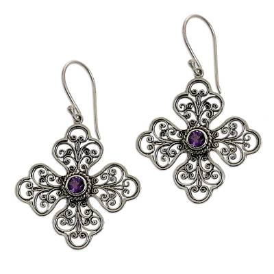Sterling Silver Amethyst Floral Dangle Earrings Indonesia
