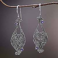 Amethyst dangle earrings, 'Heart-Shaped Love' - Heart Sterling Silver Amethyst Dangle Earrings Indonesia