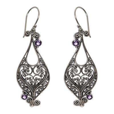 Heart Sterling Silver Amethyst Dangle Earrings Indonesia