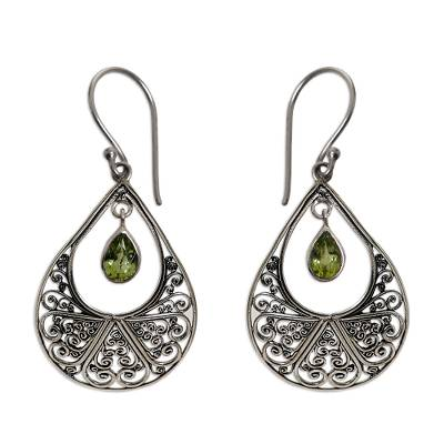 Hand Made Sterling Silver and Peridot Dangle Earrings
