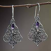 Amethyst dangle earrings, 'Purple Fleur-de-Lis' - Sterling Silver Amethyst Dangle Earrings from Indonesia