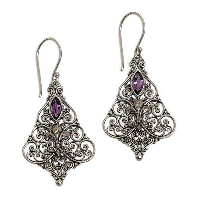 Sterling Silver Amethyst Dangle Earrings from Indonesia
