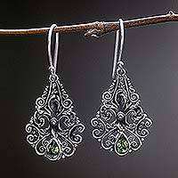 Peridot dangle earrings, 'Pear Blossoms' - Hand Made Sterling Silver Peridot Dangle Earrings Indonesia