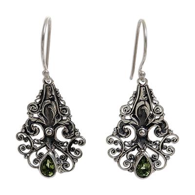 Hand Made Sterling Silver Peridot Dangle Earrings Indonesia