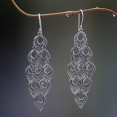 Sterling silver dangle earrings, 'Bali Rain' - Hand Made Sterling Silver Dangle Earring
