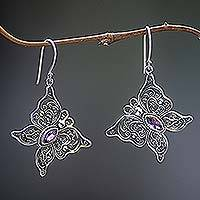 Amethyst dangle earrings, 'Butterfly Effect' - Butterfly Amethyst Sterling Silver Dangle Earrings Indonesia
