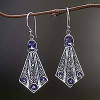 Amethyst dangle earrings, 'Jalak Tail' - Handmade Sterling Silver Amethyst Dangle Earrings Indonesia