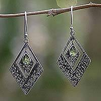 Peridot dangle earrings, 'Green Rhombus' - Geometric Sterling Silver Peridot Dangle Earrings Indonesia