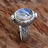 Rainbow moonstone cocktail ring, 'Magic Portal' - Sterling Silver Rainbow Moonstone Cocktail Ring Indonesia