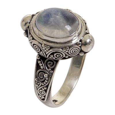 Sterling Silver Rainbow Moonstone Cocktail Ring Indonesia