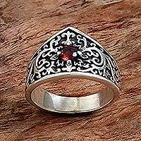 Garnet band ring, 'Red Crown' - Sterling Silver and Garnet Band Ring from Indonesia