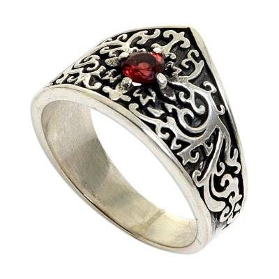 Sterling Silver and Garnet Band Ring from Indonesia