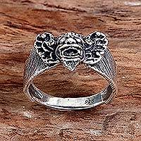 Sterling silver cocktail ring, 'Barong Guardian' - Hand Made Sterling Silver Cocktail Ring from Indonesia