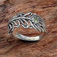 Peridot band ring, 'Feather Light' - Peridot Sterling Silver Feather Band Ring from Indonesia