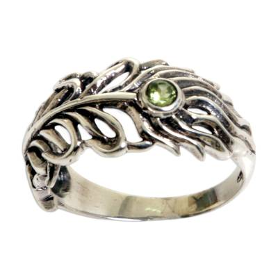 Peridot Sterling Silver Feather Band Ring from Indonesia