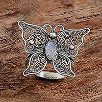 Rainbow moonstone cocktail ring, 'Open Wings' - Rainbow Moonstone Butterfly Cocktail Ring from Indonesia
