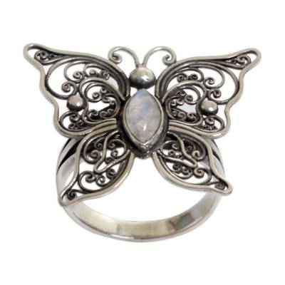 70bf379786f83 Rainbow Moonstone Butterfly Cocktail Ring from Indonesia, 'Open Wings'
