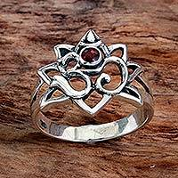 Garnet cocktail ring, 'Jeweled Om' - Garnet Sterling Silver Om Cocktail Ring from Indonesia